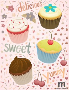 Cupcakes, anyone? - Vector work in Illustrator