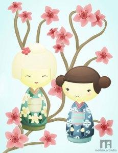 Kokeshi Dolls - Vector work in Illustrator