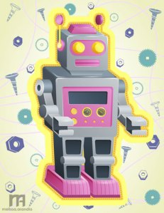 Vintage Robot - Vector work in Illustrator
