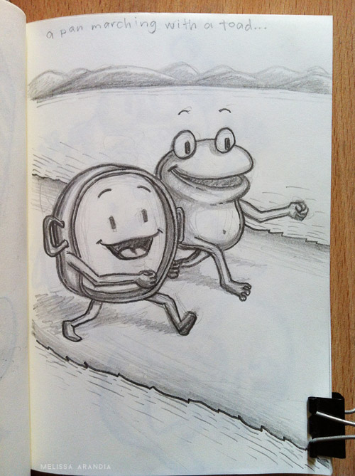 A pan marching with a toad