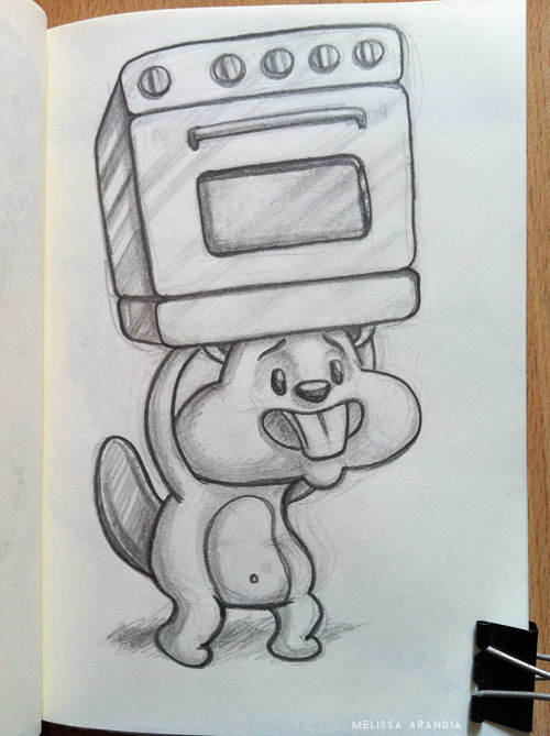 A beaver carrying an oven