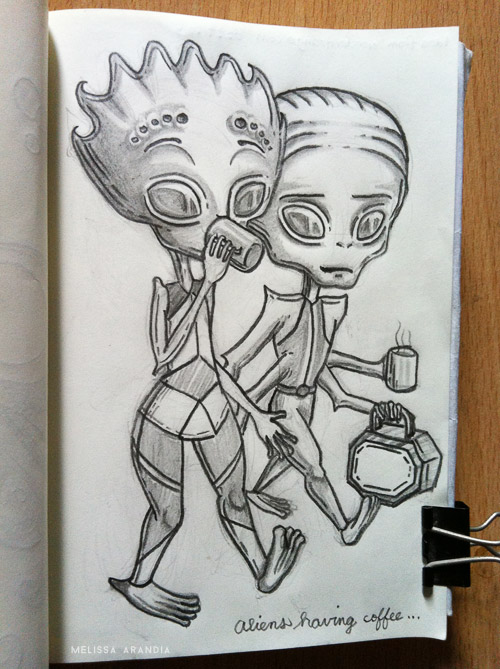 Aliens having coffee