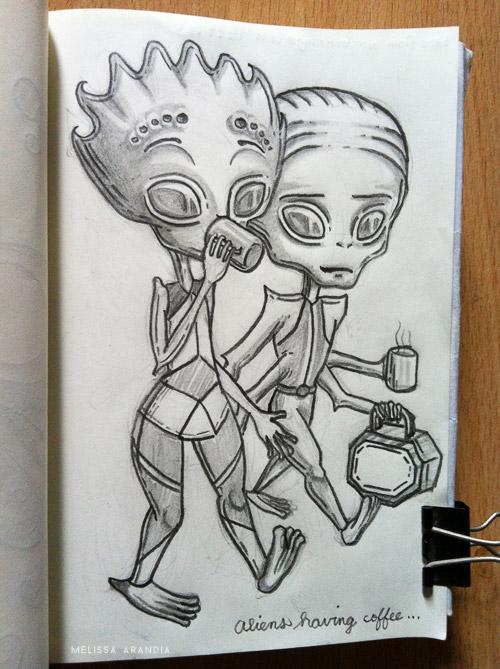 Aliens having coffee