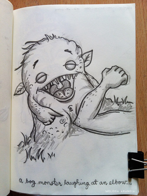 A bog monster laughing at an elbow
