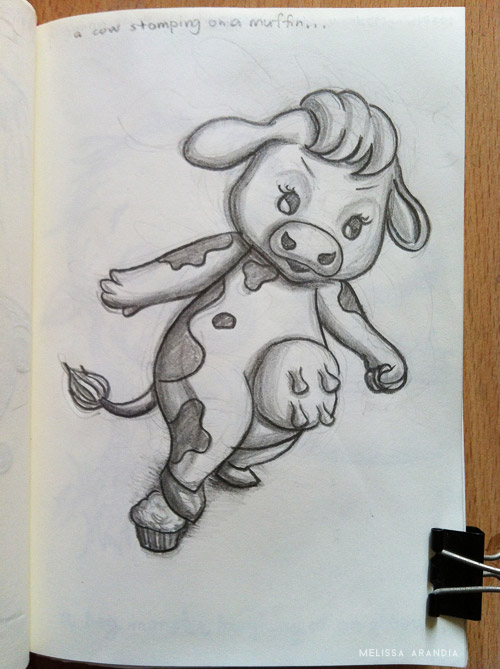 A cow stomping on a muffin