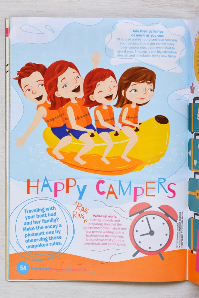 """Happy Campers"" editorial illustration"